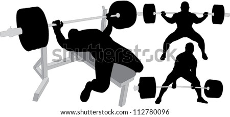 Powerlifting, weightlifting or bodybuilding vector silhouettes on white background. Bench press, deadlift, squat. Layered. Fully editable.