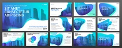 Powerpoint presentation templates set. Use for keynote presentation background, brochure design, website slider, landing page, annual report, company profile.