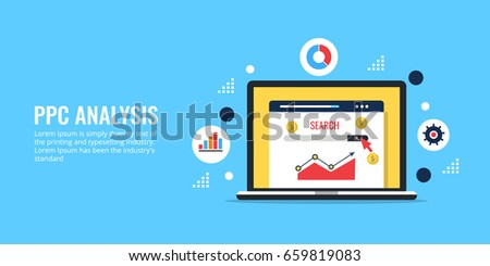 PPC analysis, pay per click campaign, data analytics flat design vector banner with icons