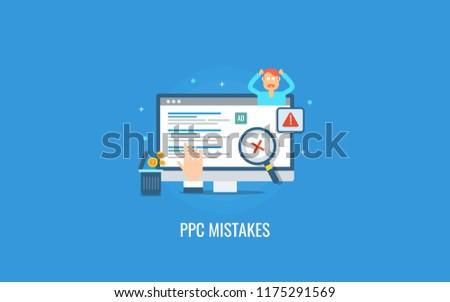 PPC mistake, marketing mistakes, digital marketing error flat design vector illustration isolated on blue background