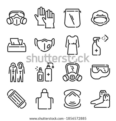 Ppe line icons. Medical covid-19 protection equipments. Outline doctor gown, face mask and shield, hair cover, apron and goggles. Vector set equipment to care and sanitizing illustration
