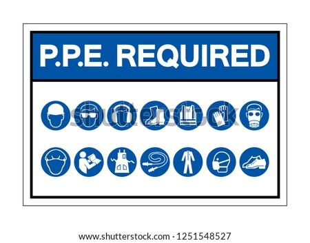 PPE Required Symbol Sign ,Vector Illustration, Isolate On White Background Label. EPS10 Stock photo ©