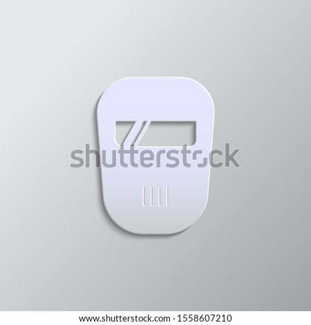 ppe, specialized paper style icon. Grey color vector background