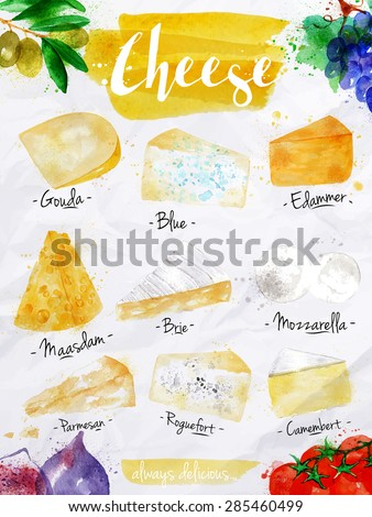 PPoster cheese watercolor lettering gouda, blue, edammer, maasdam, brie, mozzarella, parmesan, roquefort, camembert, always delicious drawing in vintage style on white background.