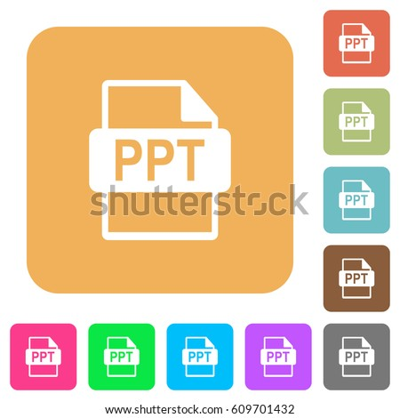 PPT file format flat icons on rounded square vivid color backgrounds.