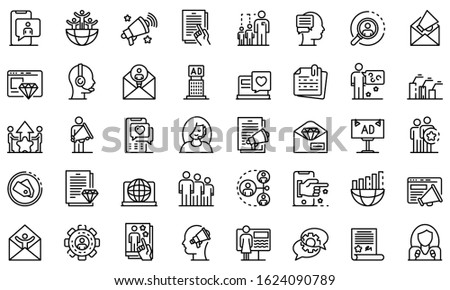 PR specialist icons set. Outline set of PR specialist vector icons for web design isolated on white background Stockfoto ©