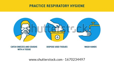 Practice respiratory hygiene using tissues to catch cough and washing hands, covid-19 prevention Foto stock ©