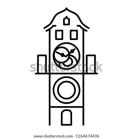 Prague astronomical clock isolated icon simple black outline