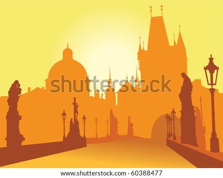prague bridge vector