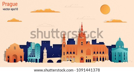 prague city colorful paper cut