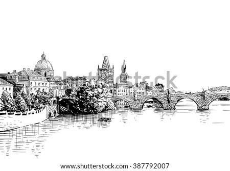 prague city hand drawn sketch