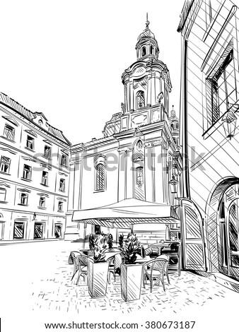 prague city sketch hand drawn