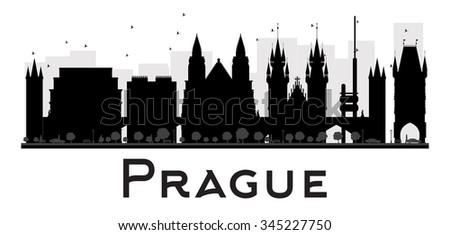 prague city skyline black and