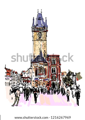 prague clock tower sketch