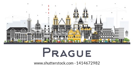 Prague Czech Republic City Skyline with Color Buildings Isolated on White. Vector Illustration. Business Travel and Tourism Concept with Historic Architecture. Prague Cityscape with Landmarks.