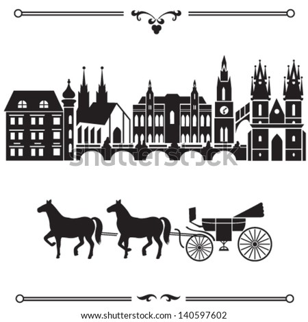 Prague Illustration With City Landscape Silhouette And Carriage With Horses. Historical Part Of The European Capital Is Influenced By The Austrian And German Gothic Architecture.