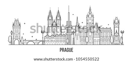 prague skyline  czech republic