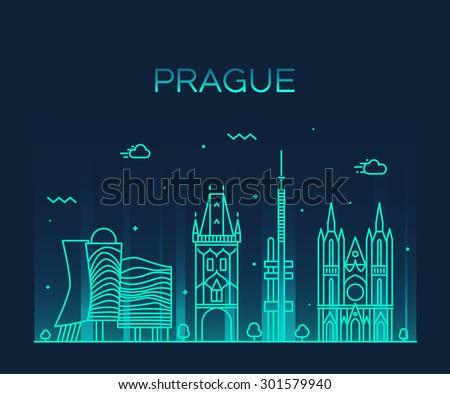 prague skyline detailed