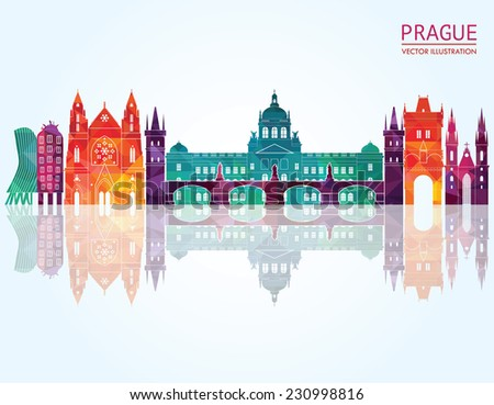 prague skyline vector