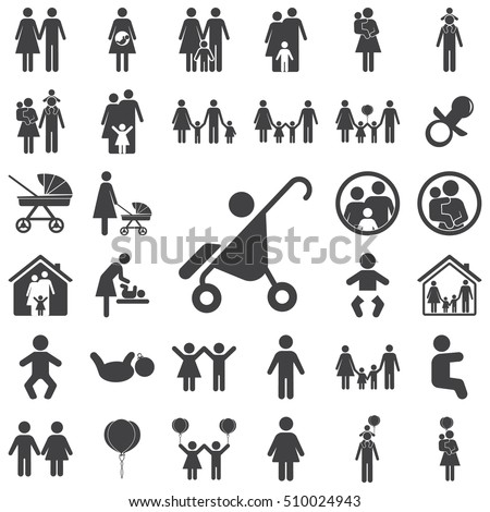 Pram icon on the white background. Family set of icons