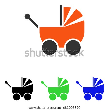 Pram vector pictograph. Illustration style is a flat iconic colored symbol with different color versions. #683003890