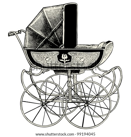 Pram - vintage engraved illustration - Catalog of a French department store - Paris 1909 - stock vector