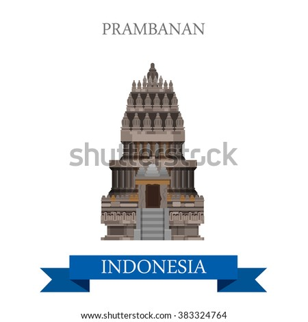 Prambanan Hindu temple in Indonesia. Flat cartoon style historic sight showplace attraction web site vector illustration. World countries cities vacation travel sightseeing Asia collection.