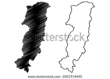 Prato province (Italy, Italian Republic, Tuscany or Toscana region) map vector illustration, scribble sketch Province of Prato map ストックフォト ©