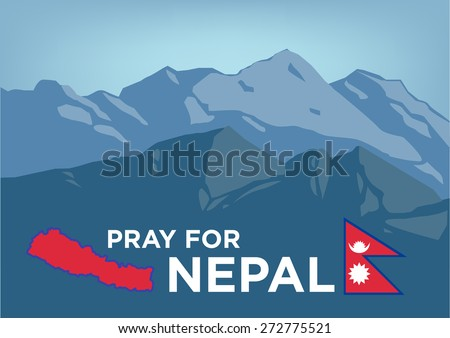 Pray for Nepal Earthquake Crisis 2015 concept showing Mt Everest with Nepalese map and flag