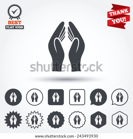 Pray Hands Sign Icon Religion Priest Faith Symbol Circle Star