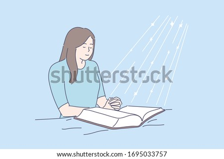 Prayer, blessing, religion, Bible, faith concept. Young happy religious woman or girl prays in room above open Bible. Asking, request. Faith in God drawn in cartoon style. Blessed light. Vector.