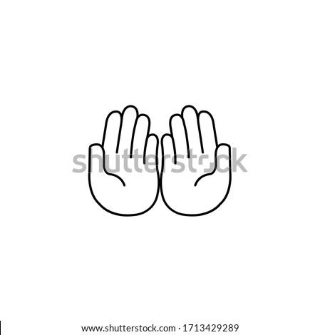 Prayer dua, praying hands, islam symbols, muslim praying simple thin line icon vector illustration Stok fotoğraf ©