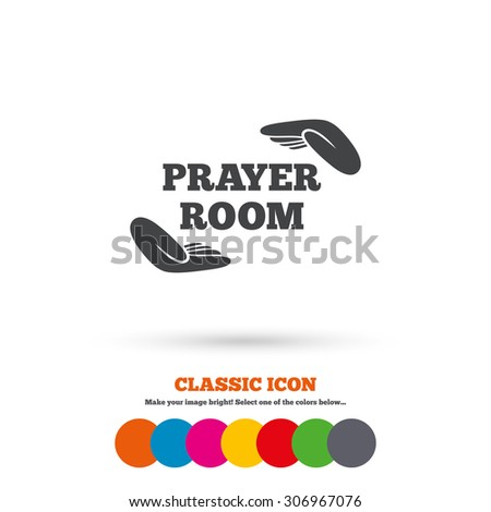 Prayer Room Sign Icon Religion Priest Faith Symbol Pray With Hands