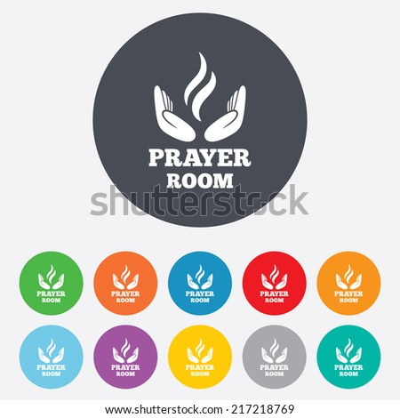 Prayer room sign icon. Religion priest faith symbol. Pray with hands. Round colourful 11 buttons. Vector