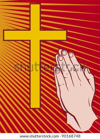 praying hands and cross vector