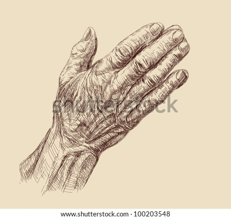 Praying Hands drawing vector illustration