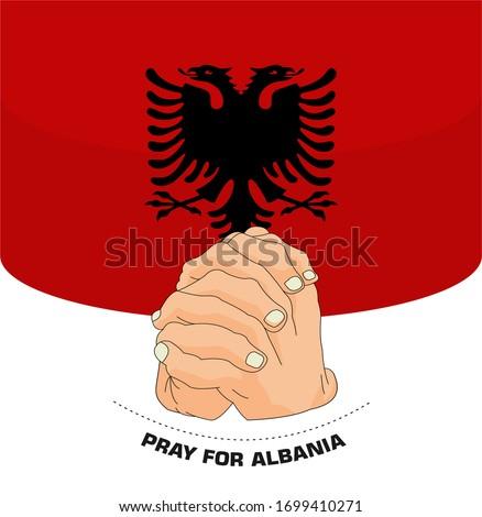 Praying hands for Covid-19 or novel coronavirus. the National Flag of the albania, Pray for albania, Save albania people concept, vector illustration.