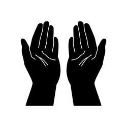 Praying Hands. Religion praying hands isolated on white background. Jesus praying hands silhouette isolated on white background