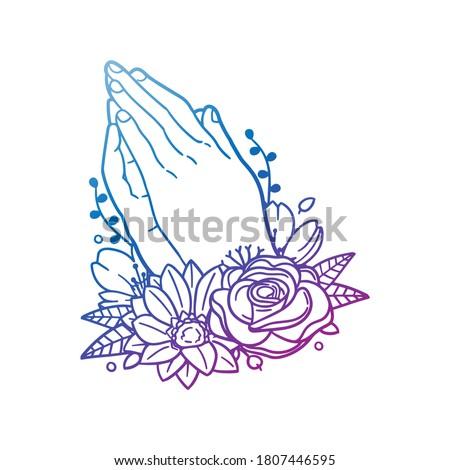 Praying Hands Religion Rose Flower with Vintage Pose Design. Floral frame ornament vector style. Decoration Design Empty illustration.