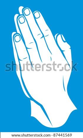 Praying hands (vector illustration of hands folded in prayer)