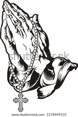 Praying hands with rosary  Stock photo ©