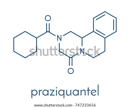 Praziquantel anthelmintic drug molecule. Used to treat tapeworm infections. Skeletal formula.