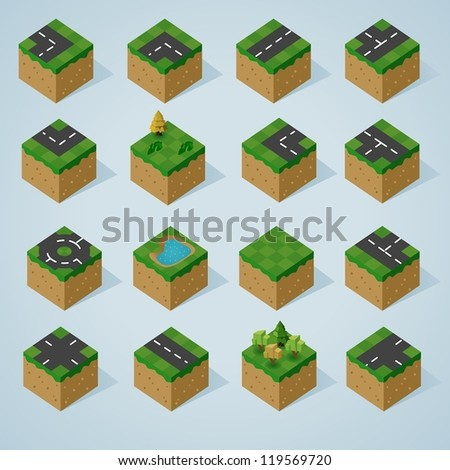 Pre Assembled Isometric world map - stock vector