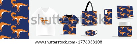 pre-history animal pattern and mockups for printing such as: t-shirts, mugs, bags, wall clocks, laptop skins, masks, softcase, bed covers Foto stock ©