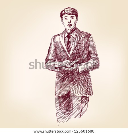 preacher with bible in hand - vintage hand drawn vector illustration