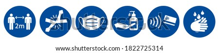 Precautions against COVID-19 icons - stock vector Сток-фото ©