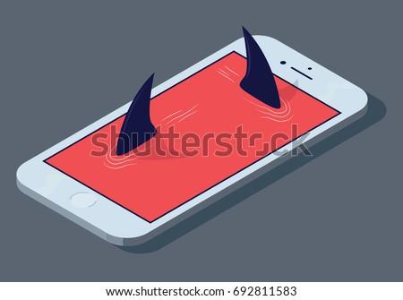Predators concept illustration. Vector phone shark design