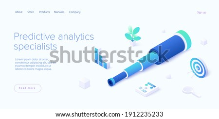 Predictive analytics in isometric vector illustration. Business forecasting as strategic method of future development. Spyglass as metaphor of goal strategy or prediction analysis. ストックフォト ©