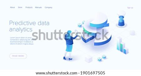 Predictive analytics in isometric vector illustration. Data mining, modelling and machine learning. Information statistics. ストックフォト ©