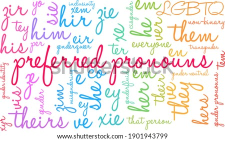 Preferred Pronouns on a white background.  Foto stock ©